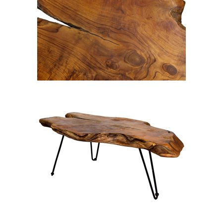 Badang Carving Coffee Table - Natural Lacquer Finish - Lacquered Coffee Finish