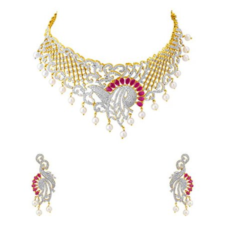 3136bd080a8f4 Traditional Brass with Yellow Gold Plated Cubic Zirconia Necklace Sets for  Women
