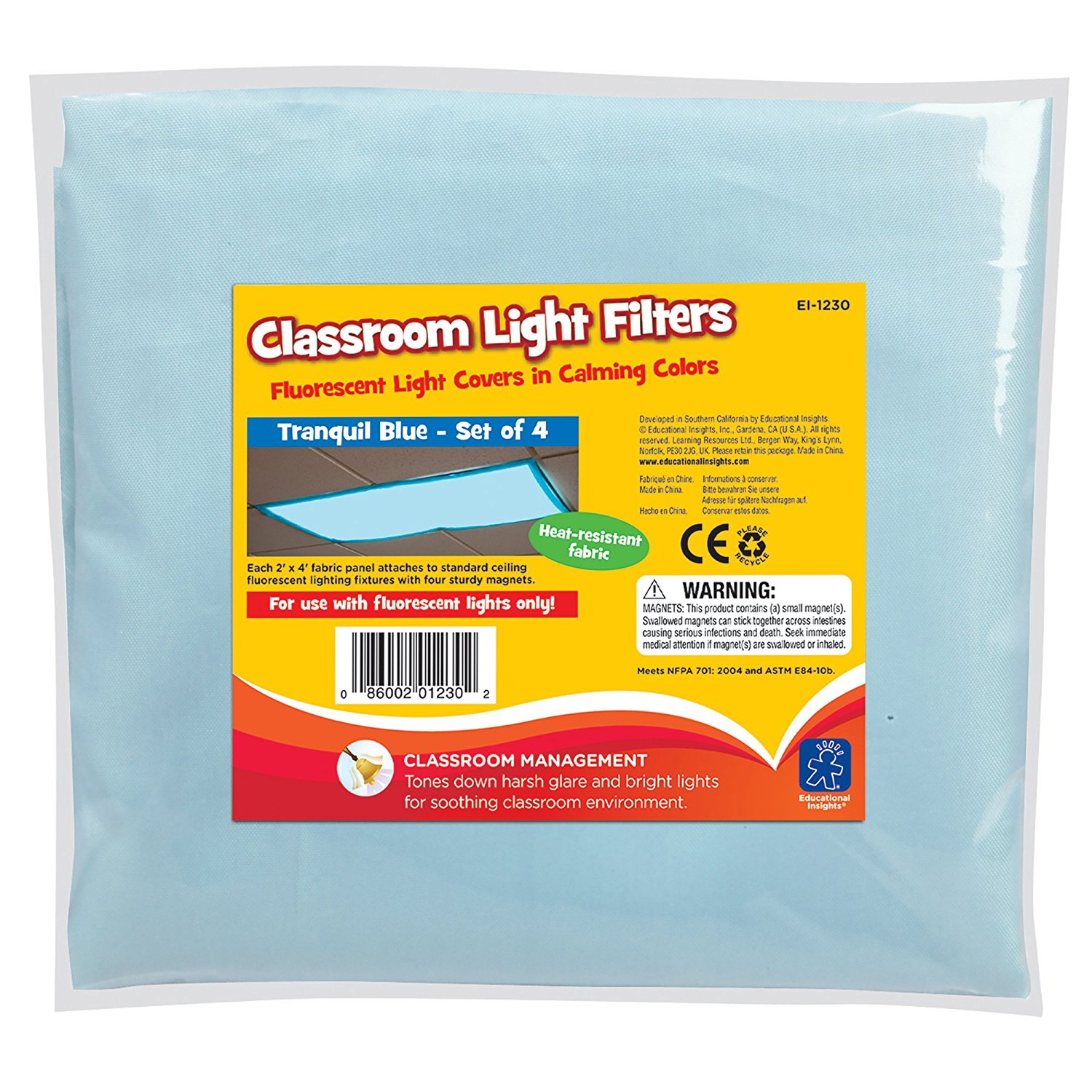 Fluorescent Light Filters (Tranquil Blue), Set of 4, CREATE A CALM AND  PLEASANT ENVIRONMENT: Create a calm and soothing classroom or office ...