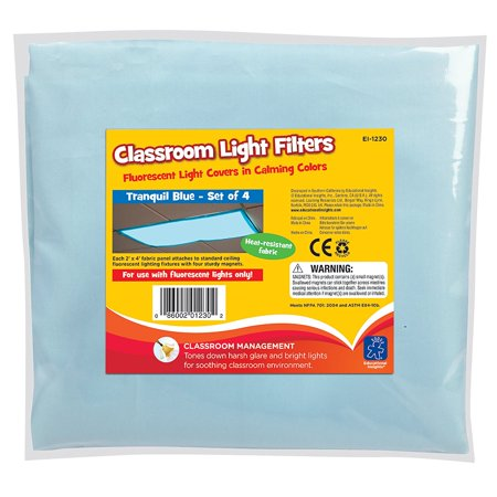 Fluorescent Light Filters (Tranquil Blue), Set of 4, CREATE A CALM AND PLEASANT ENVIRONMENT: Create a calm and soothing classroom or office environment by decreasing.., By Educational (Best Fluorescent Lights For Office)