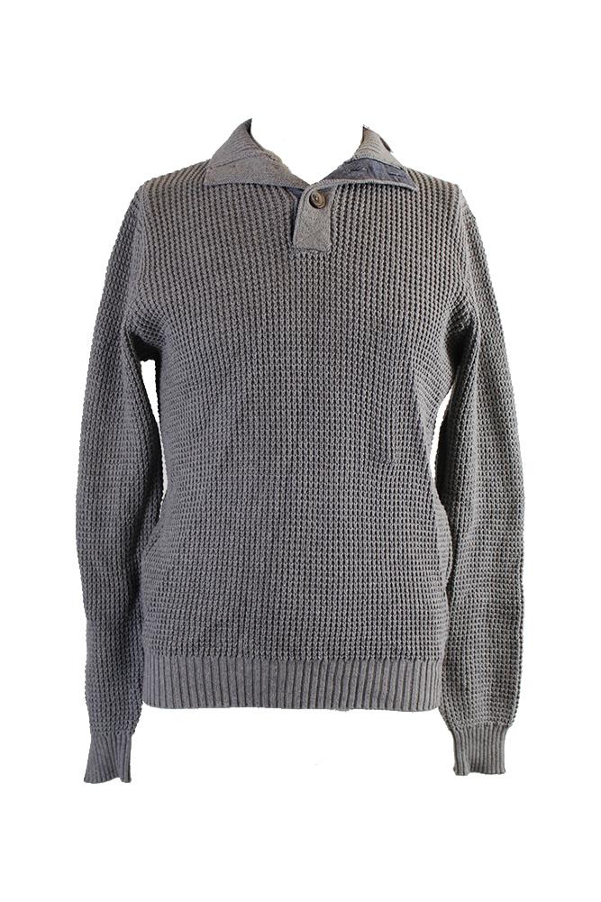 Weatherproof Grey Tuck-Stitch Mock-Collar Sweater M