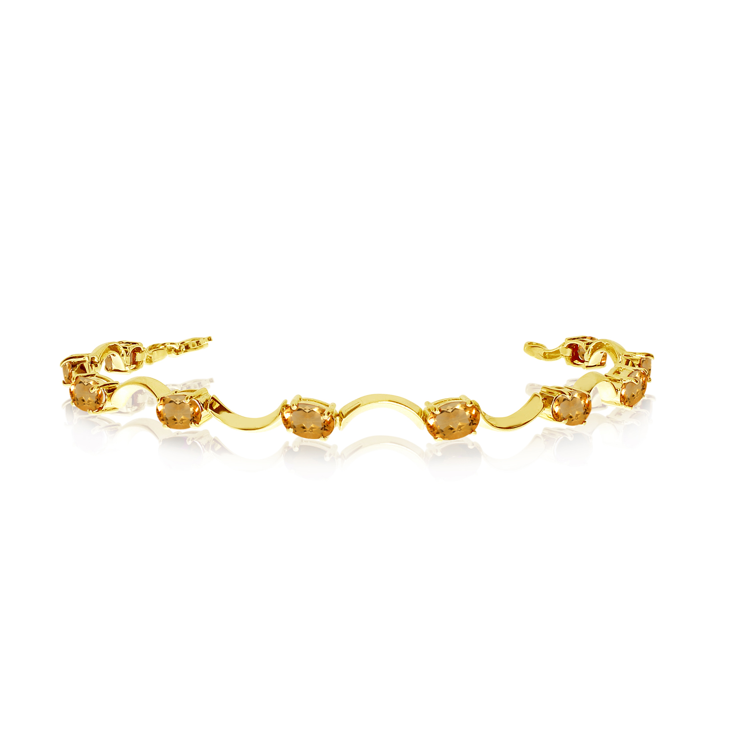 10K Yellow Gold Oval Citrine Curved Bar Bracelet by