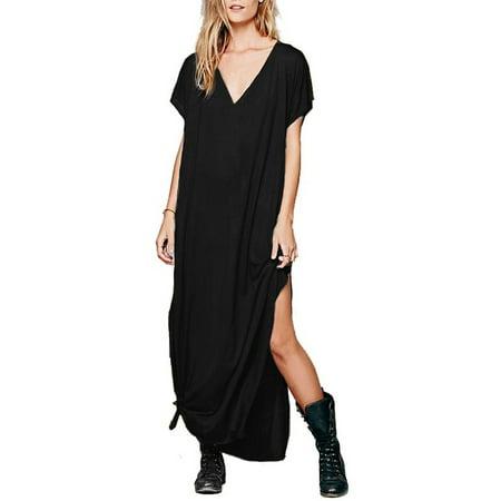 f0b1fa89982c Celmia - Celmia Womens V Neck Short Sleeve Loose Side Split Beach Long Maxi  Dress - Walmart.com