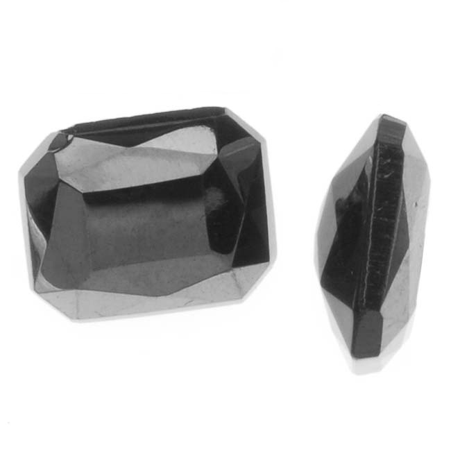 Czech Glass Table Cut - Octagon Chatons Pointed Jet Hematite 8x10mm (4)