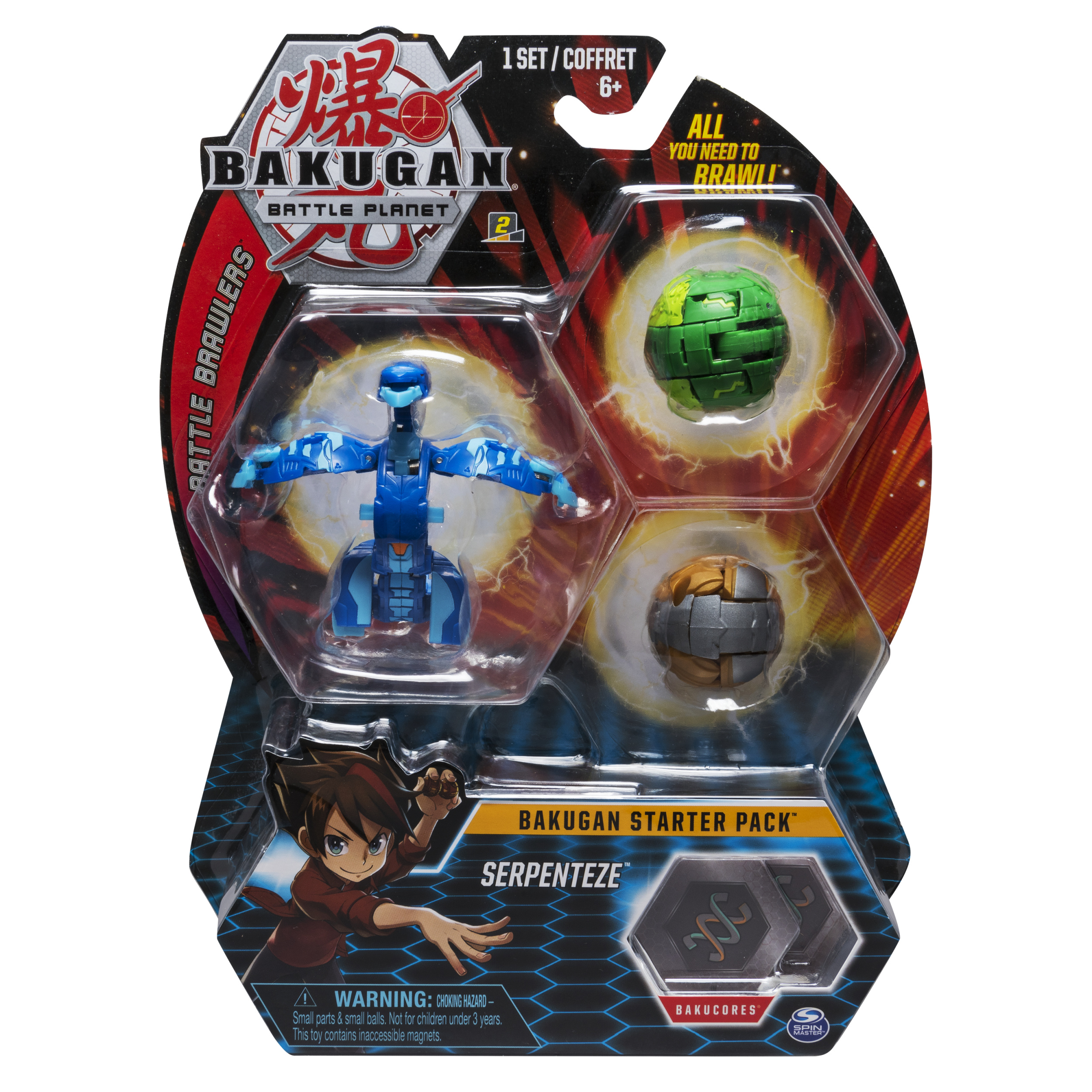 Bakugan Starter Pack 3-Pack, Serpenteze, Collectible Transforming Creatures, for Ages 6 and Up