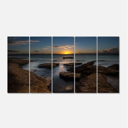 Rocky Sydney Beach at Sunset - Seascape Canvas Art Print - image 2 de 3