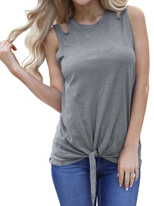Starvnc Women Front Tie Cotton Tank Top
