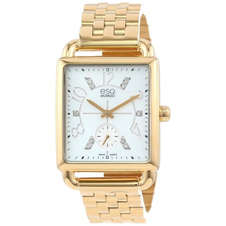 Movado Esq Womens 07101415 Origin Ionic Gold Plated Steel Case Bracelet White Mother Of Pearl Dial Diamond Accents Watch