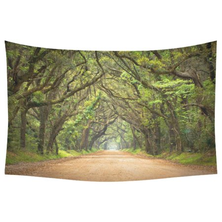 PHFZK Forest Way Long Leaves Real Tree Photograph Printed Modern Art Home Wall Decoration, Natural Theme Tapestry Wall Hanging 40 X 60 Inches