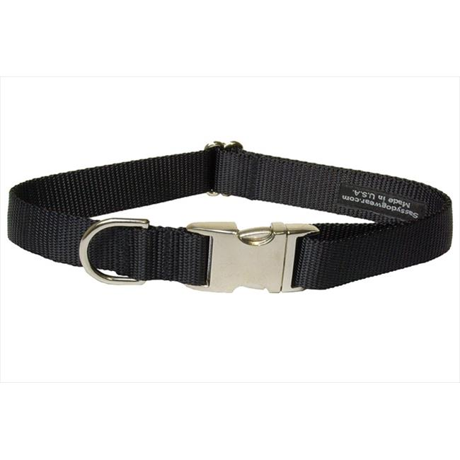Nylon & Aluminum Buckles Dog Collar, Black - Medium