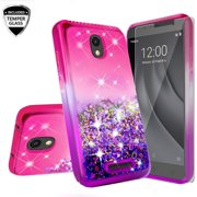 Tracfone Alcatel TCL A1 A501DL Case with Tempered Glass Screen Protector, Glitter Liquid Floating Waterfall Durable Girls Women Cute Phone Case - Hot Pink/Purple