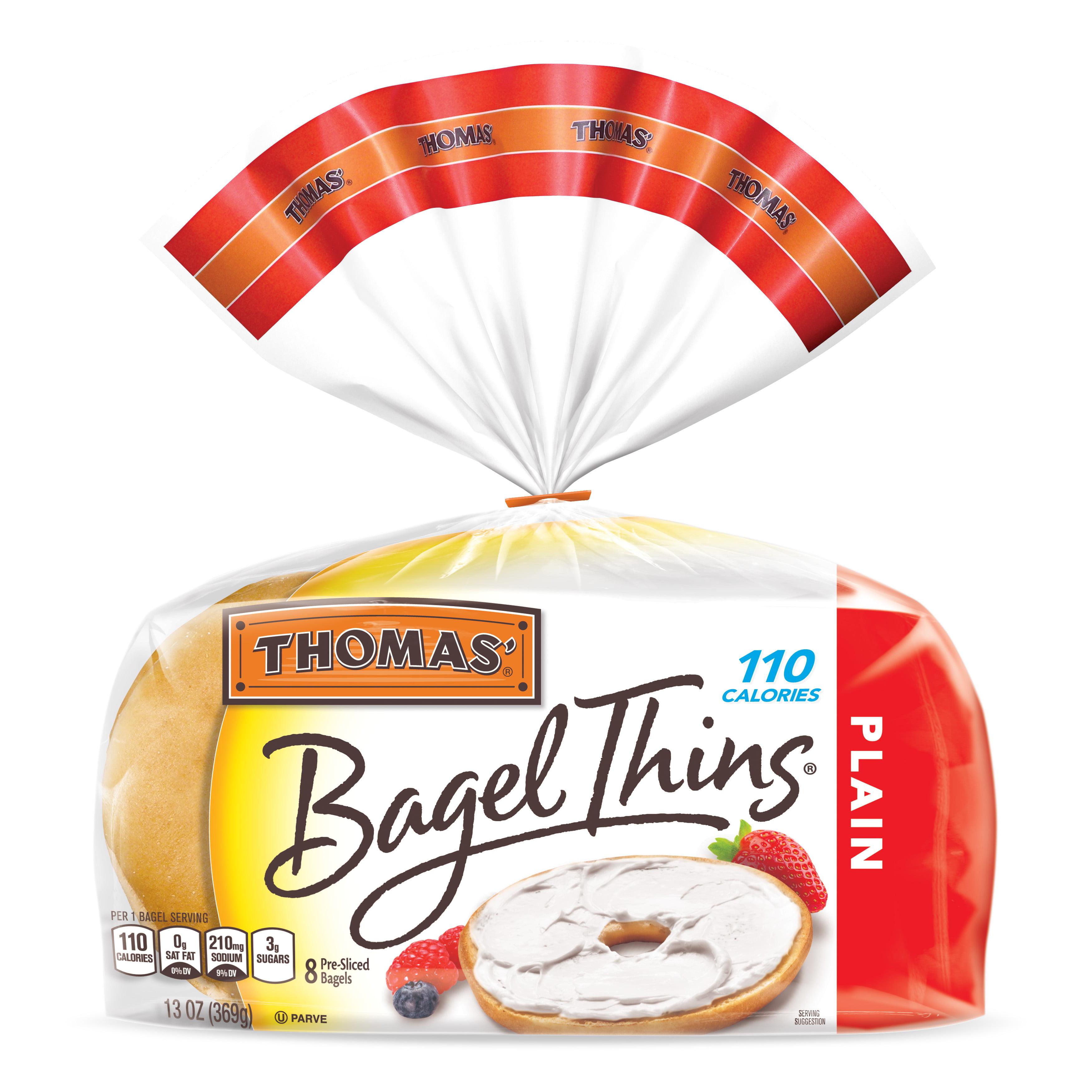 Thomas' Plain Bagel Thins, Only 110 Calories, 8 count, 13 oz