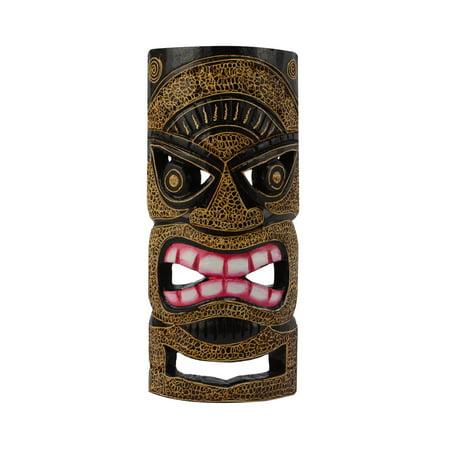 Tiki Head Protector Mask Wood Totem Statue Tropical Bar Patio Luau 3D Wall Decor