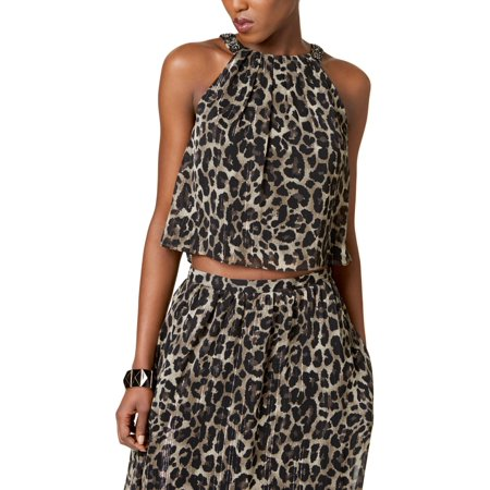 Print Spandex Halter Top - SLNY Womens Animal Print Crop Halter Top