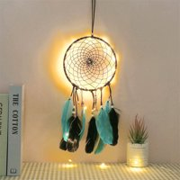 Hibetterlife LED Dream Catchers Handmade Traditional Feather Hanging Home Wall Decor