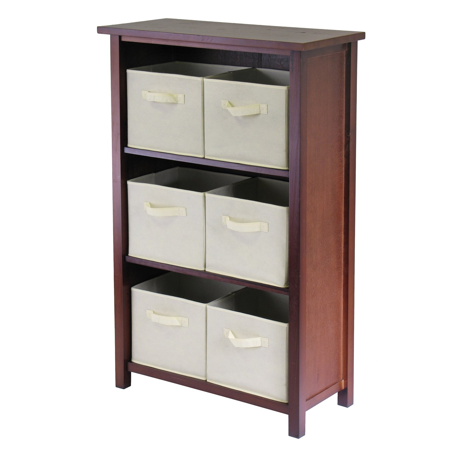Winsome Wood Verona Storage Shelf with 6 Foldable Fabric Baskets