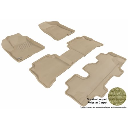 3D Maxpider 2011 2013 Kia Sorento Front  Second    Third Row Set All Weather Floor Mats In Tan Carpet