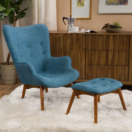 Noble House Henley Muted Blue Fabric Contour Accent Chair