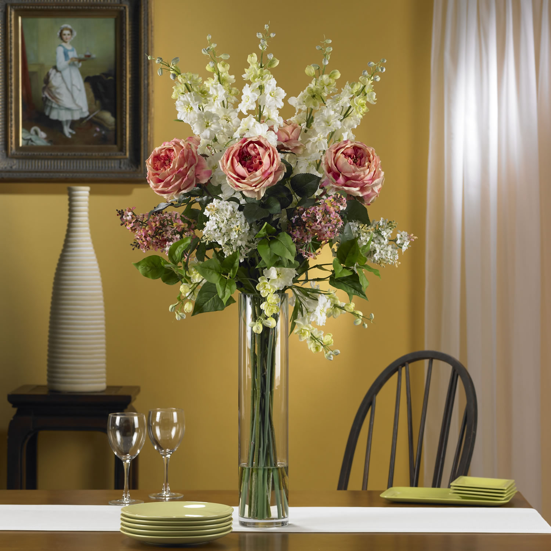 Rose Delphinium And Lilac Silk Flower Arrangement Pink Walmart
