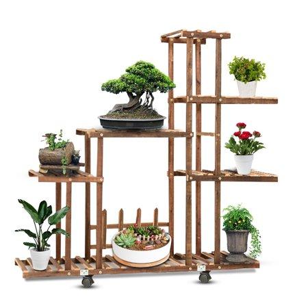 Indoor Outdoor Garden Wooden Plant Stand With Wheels Planter Flower Pot Shelf US ()
