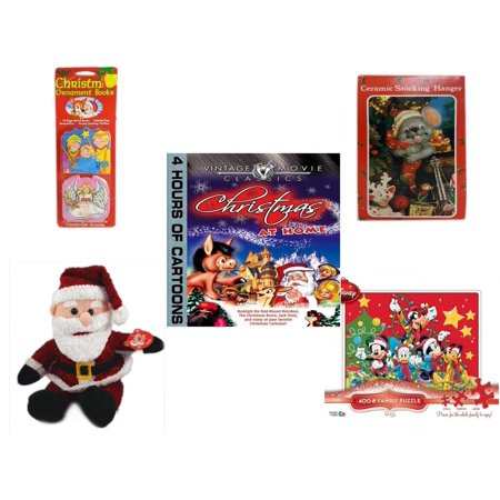 Christmas Fun Gift Bundle [5 Piece] - Xmas Ornamentbooks: 3 Kings, Angel Get Her Wings - Vintage Designed Stocking Hanger Mouse - Vintage Movie Classics  at Home DVD - Cuddly Cousins Santa  8