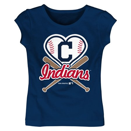 MLB Cleveland Indians TEE Short Sleeve Girls Cotton Jersey Team Color 12M-4T - Girls Indin
