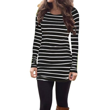 Autumn Fashion Women Long Sleeve Striped T-shirt Slim Fit Cotton Tee Tops
