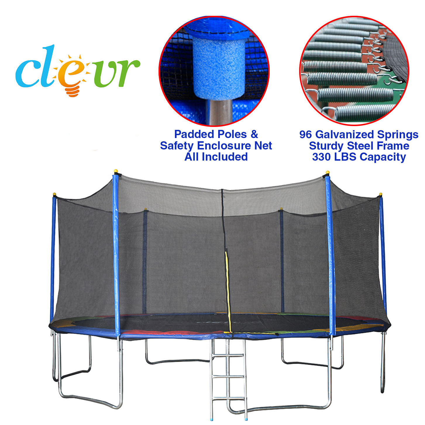 """Clevr Trampolines with Kids Safety Enclosure Net, Sizes: 36"""" 55"""" 7' 12' 15' by Clevr"""