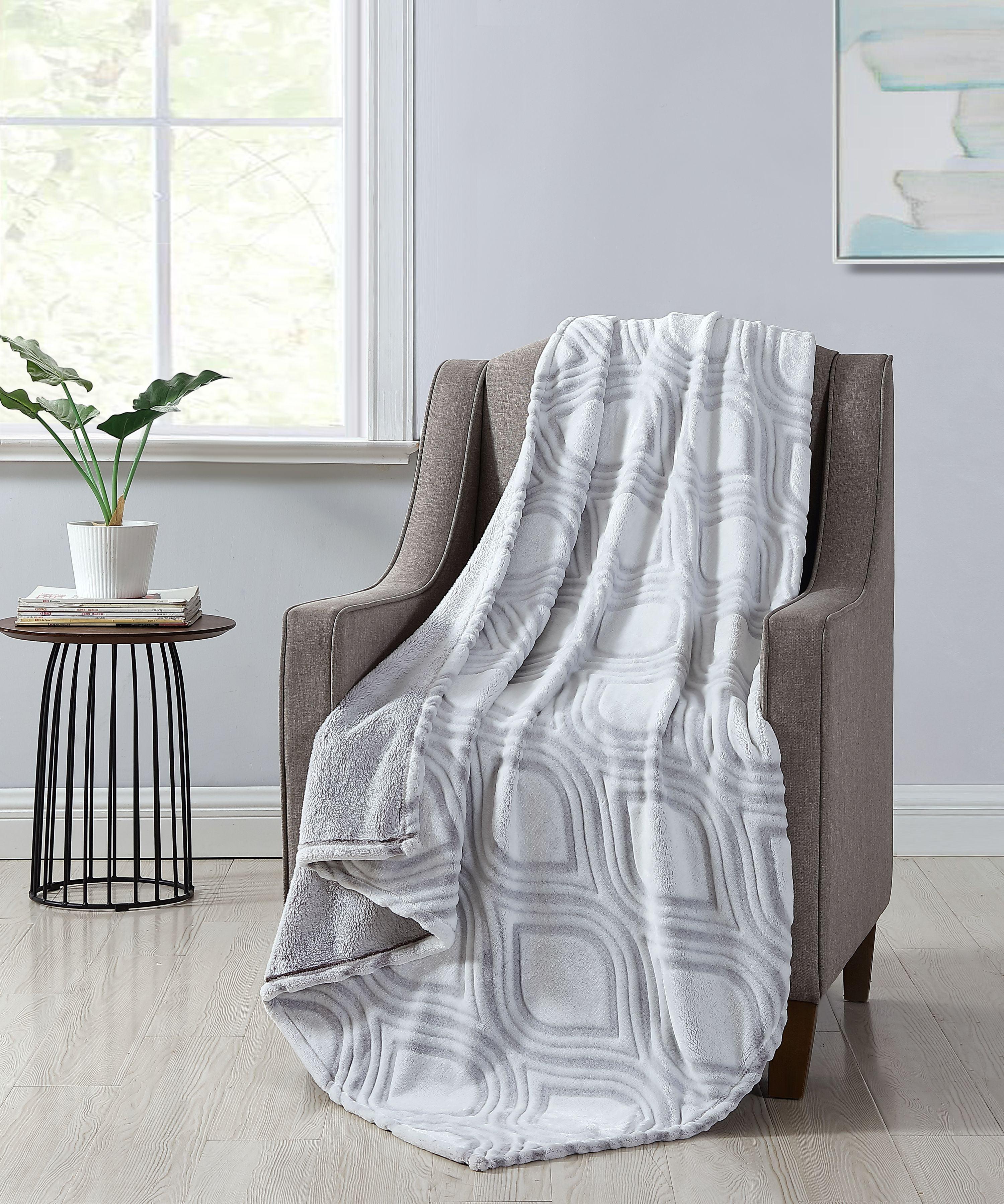 Better Homes & Gardens Grey Ogee Velvet Plush Throw Blanket, 50 x 60, Grey