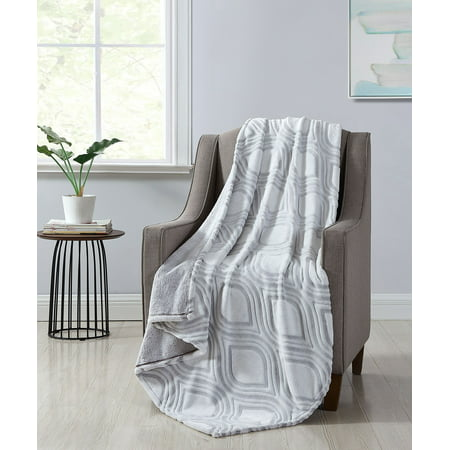 Better Homes & Gardens Grey Ogee Velvet Plush Throw Blanket, 50 x 60, Grey