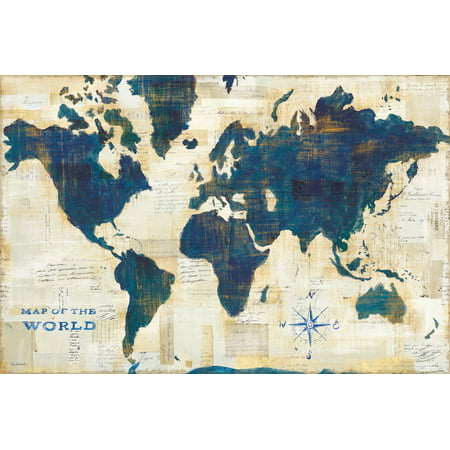 Maps Paper (Beautiful Cream, Blue and Teal Map of The World by Sue Schlabach; One 18x12in Unframed Paper Poster)
