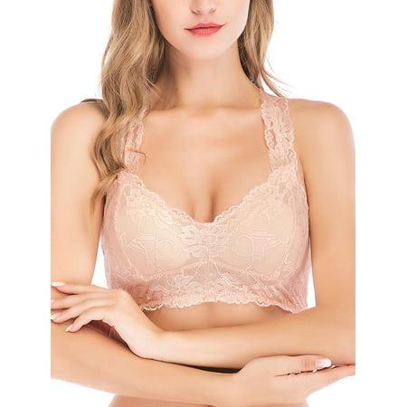 LELINTA Womens Sexy Lace V-Neck Bralette Sports Bra Top Half Cami Racerback Bra Beige S-XL