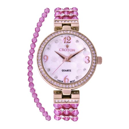 Ladies Purple Swarovski Bead Watch with Austrian Crystals and Coordinated Bracelet