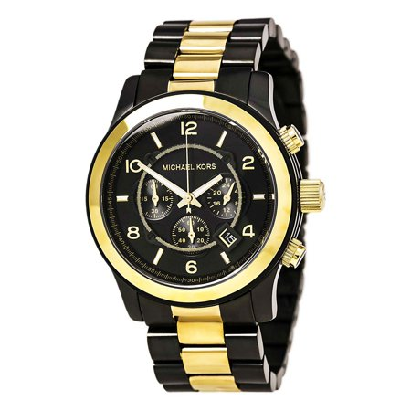 Michael Kors MK8160 Mens Runway Gunmetal and Yellow Gold Steel Chronograph Watch