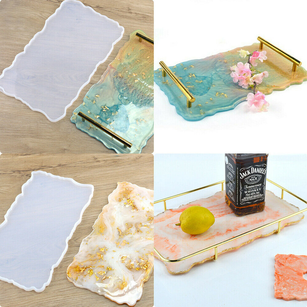 Fruit Tray Coaster Silicone Mold DIY Epoxy Resin Handcraft Making 2 Metal bars