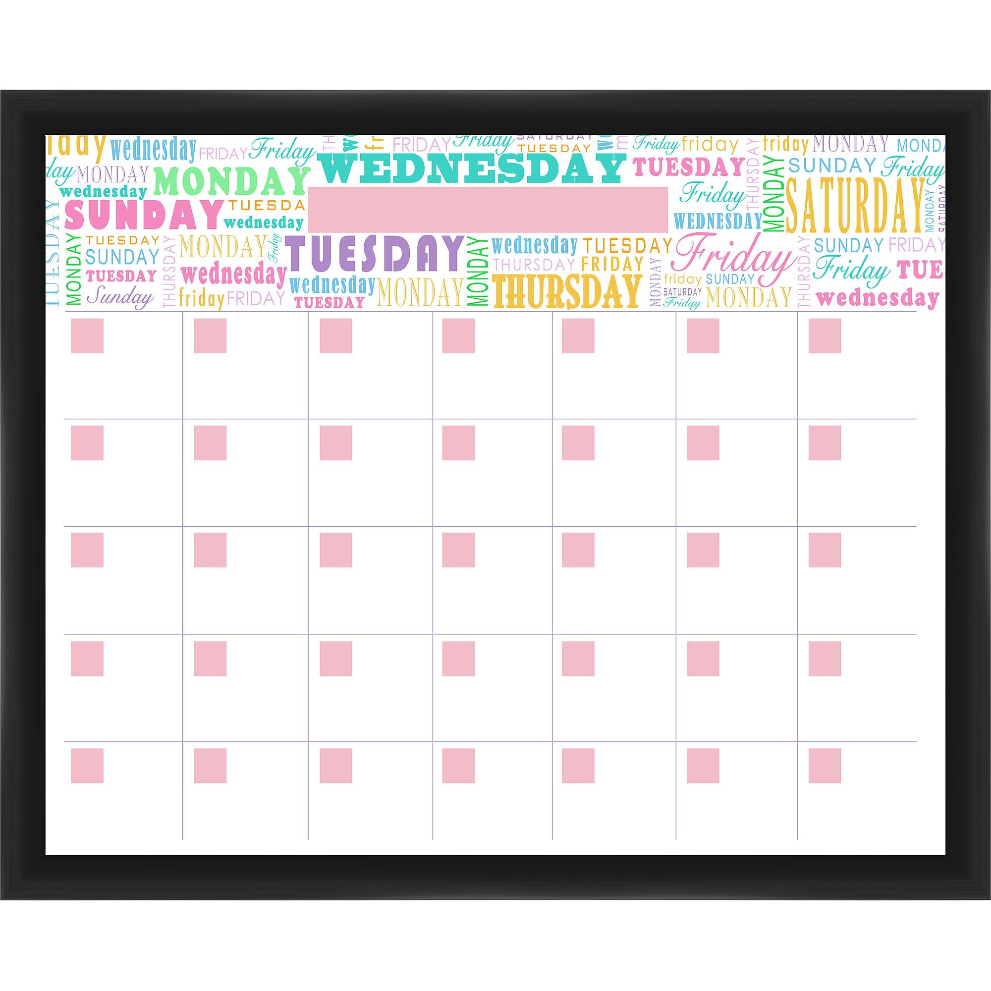Week Calendar Black Memoboard