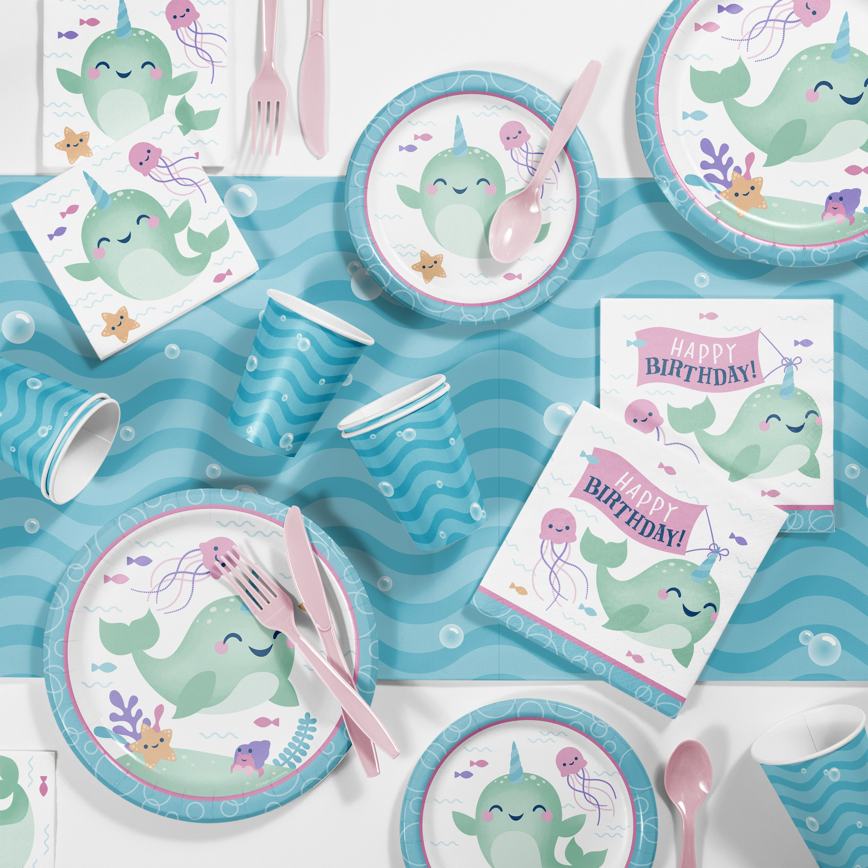 Serves 16 Narwhal Party Supplies Happy Narwhal Paper Dinner Plates and Lunch Napkins for Birthday and Showers