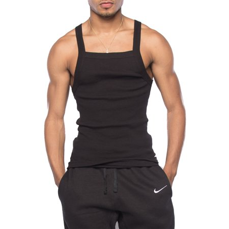 9a4ea91b Genx - Mens Basic Solid Square Cut Skinny Fit Workout Rib G-Unit Muscle Tank  Top TAK003-XL-Black - Walmart.com
