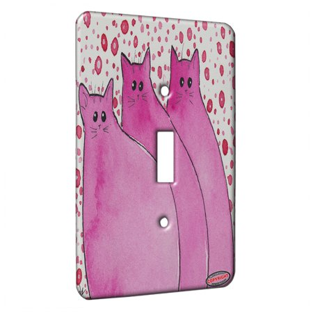 KuzmarK™ Single Gang Toggle Switch Wall Plate - Cherry Pink Chunky Kitties Abstract Cat Art by Denise