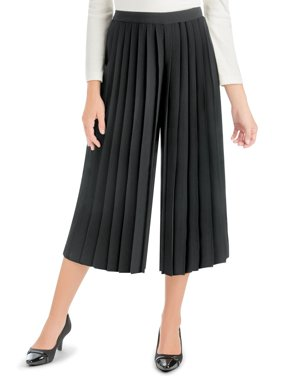 a248894fa Product Image Women's Pleated Front Elastic Waist Split Skirt, Large, Black