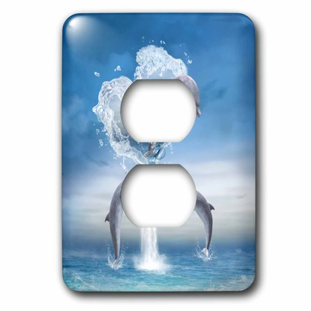 3dRose A dolphin jumps out of a water heart into the ocean - 2 Plug Outlet Cover