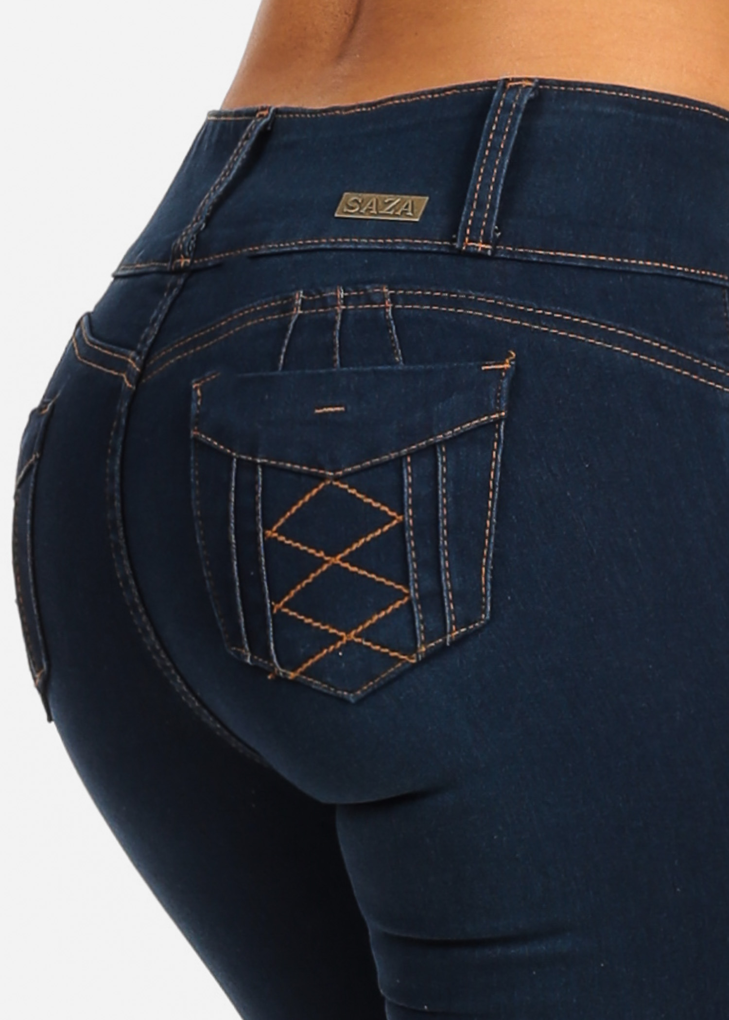 Womens Juniors Sexy Push Up Levanta Cola Dark Blue Wash Mid Rise Butt Lifting Stretchy Denim Skinny Jeans 10192V