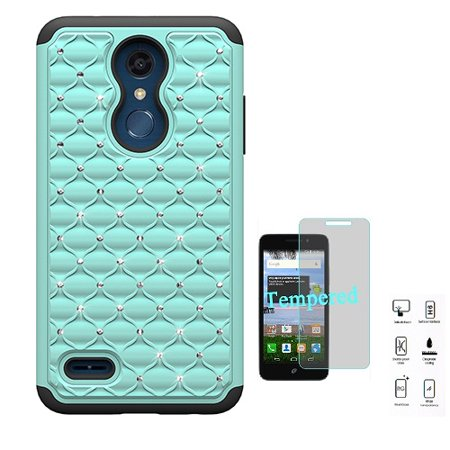 (LG K30 Case (T-Mobile), Studded Rhinestone Diamond Bling Cover Case for LG Premier Pro 4G LTE Prepaid Smartphone + Tempered Glass Screen Protector (Teal))