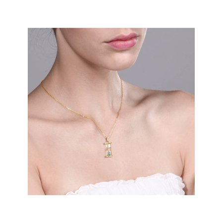 "18k Gold Plated Silver Hourglass Pendant with Aquamarine Dust 18"" Chain - image 3 de 5"