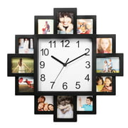 iMounTEK Photo Frame Clock Picture Collage 12-Picture Display Wall Clock Photowall Wall Hanging Home Decor