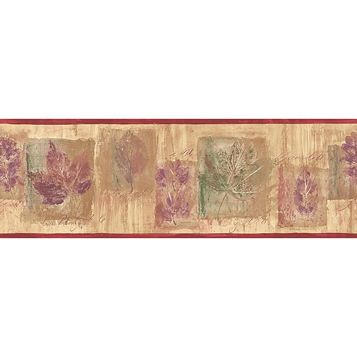 Blue Mountain Distressed Maple Leaf Wallpaper Border, Beige, Plum Purple, Forest Green and Red