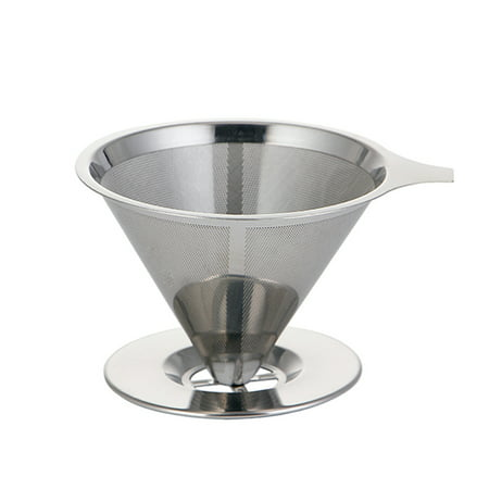 Stainless Steel Coffee Filter Pour Over Funnel Brew Drip Tea Metal Mesh Basket Tool Reusable Kitchen Coffeeware Heat Insulation Silicone Handle