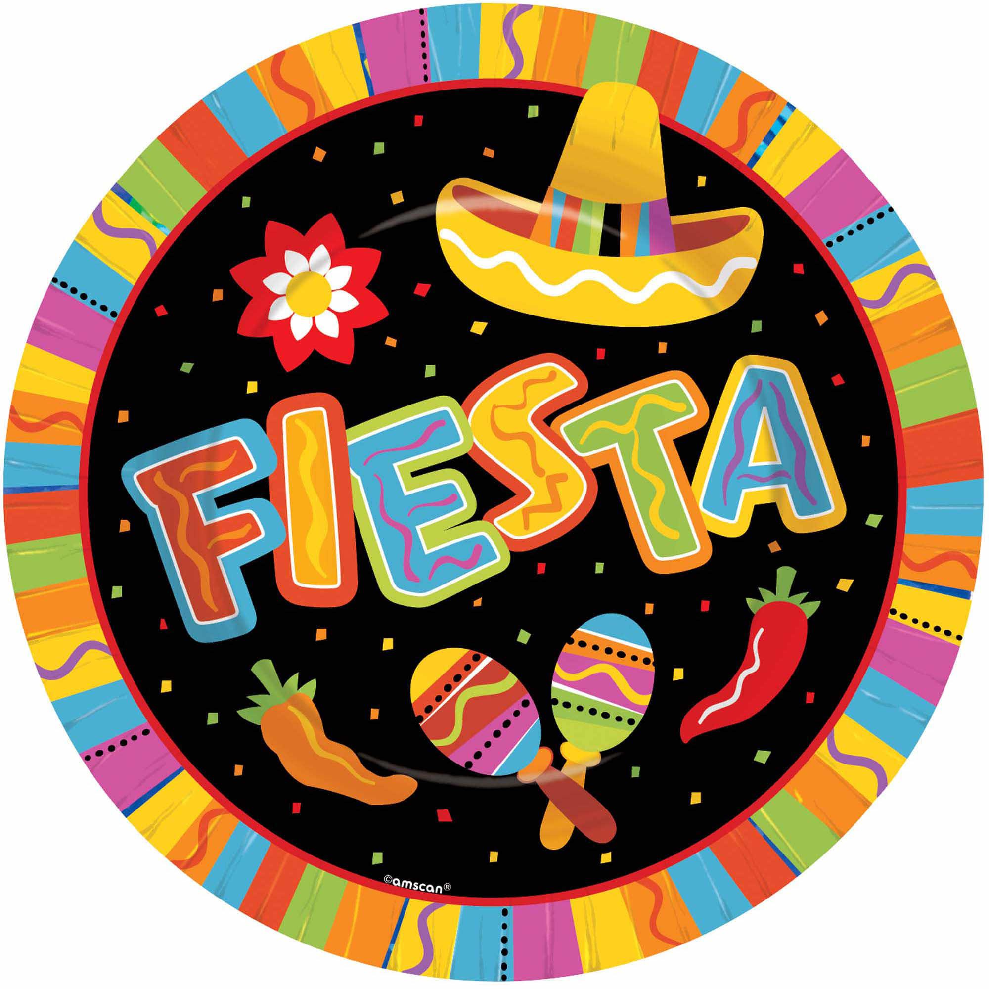 """Fiesta Fun Round Paper Plates, 10 1/2"""""""