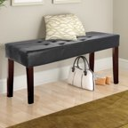 Dorel Living Camdyn Faux Leather Tufted Bench Espresso
