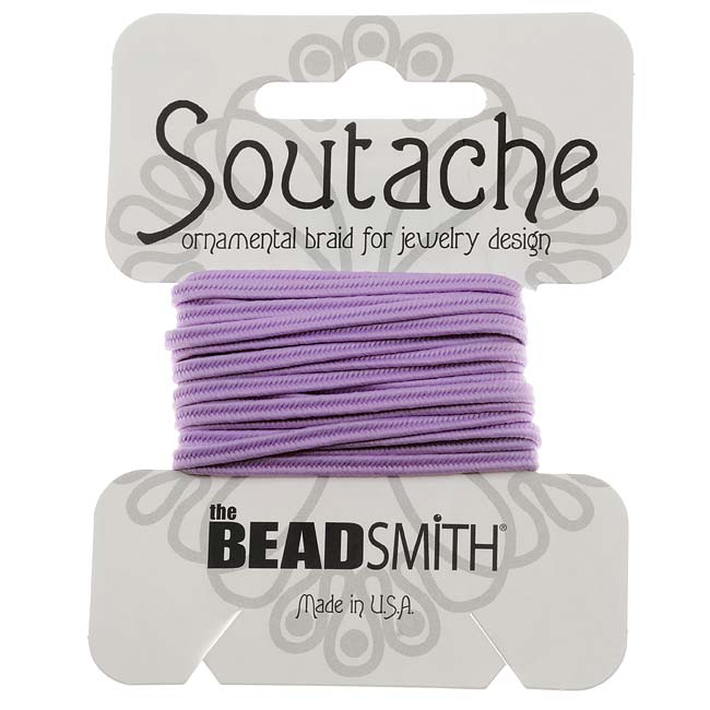 BeadSmith Soutache Braided Cord 3mm Wide - Lilac Purple (3 Yards)